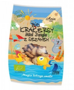 Krakersy z sezamem BIO MINI JUNGLE 100g Ania