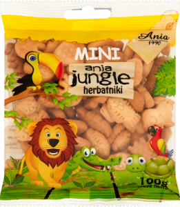 herbatniki MINI JUNGLE bez cukru 100G ANIA