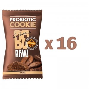 Zestaw 16szt x BeRaw Probiotic cookie KAWA  20g Purella Superfoods